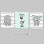 Printable jungle animal nursery pictures in mint and grey