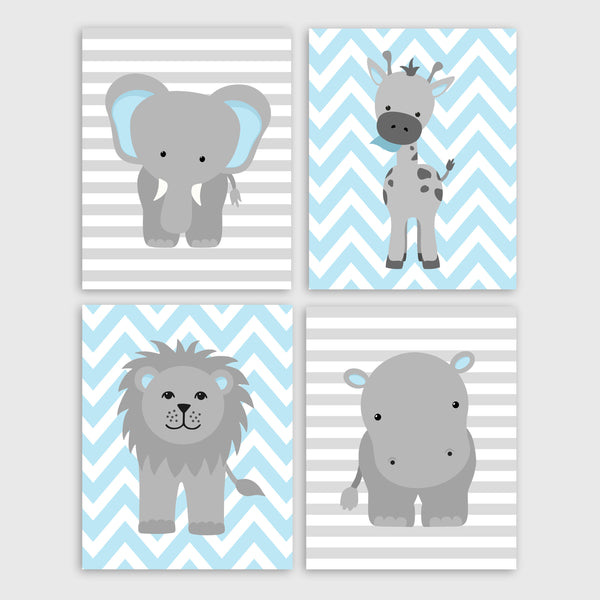 Printable Zoo Nursery Decor | Hippo Lion Giraffe Elephant | Grey and Blue | Instant Download