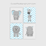baby blue and grey zoo animal nursery prints