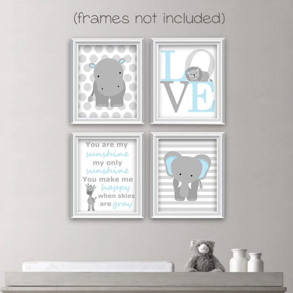 light blue and grey baby boy zoo animal prints