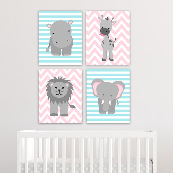 Set of four zoo animal nursery canvases