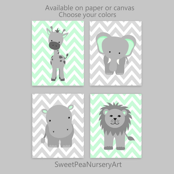 set of four gray and mint zoo nursery art prints