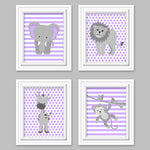 baby girl zoo animal decor, gray and purple