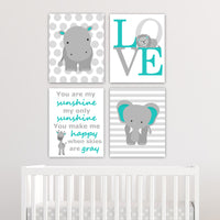 set of four grey and teal zoo canvases