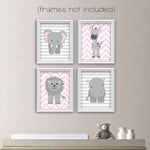 Set of four zoo animals on striped and chevron backgrounds in pink and gray