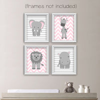 gray and pink zoo animal nursery art