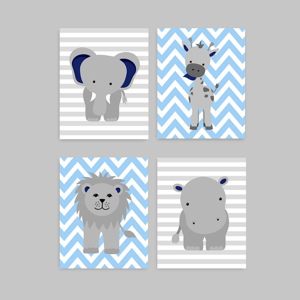 navy and light blue zoo nursery decor
