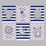 purple, gray and navy zoo nursery prints