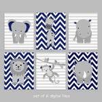 Grey and Navy Zoo Baby Wall Art Prints | Printable Digital Files | DIY