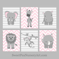 set of 6 gray and pink zoo animal nursery prints
