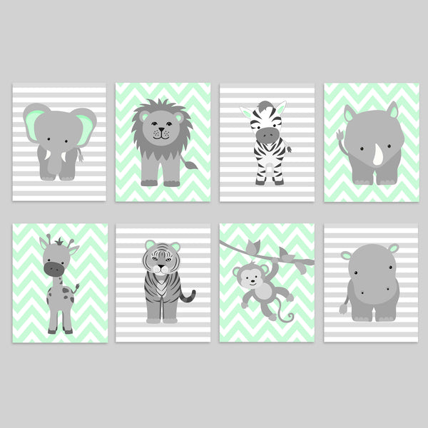 Zoo Nursery Decor | Grey and Mint | Baby Zoo Animal Prints | Jungle Nursery | Set of 8