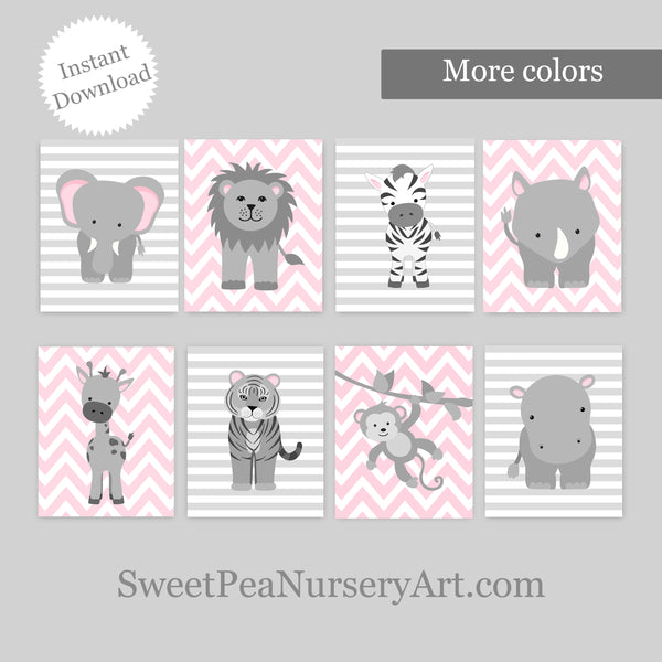 printable pink and gray zoo animal nursery pictures