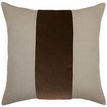 LUCKY STREAK PILLOW - BROWN VELVET + LINEN - TABBY HOME