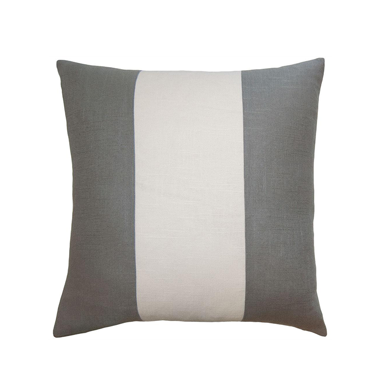 LUCKY STREAK PILLOW - IVORY VELVET + IRON LINEN - TABBY HOME