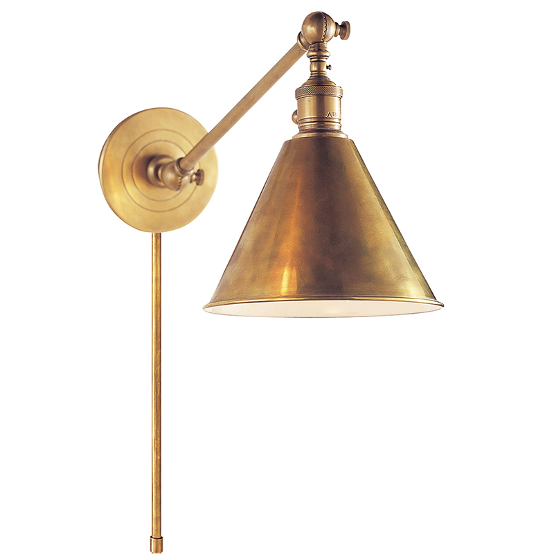 BOSTON FUNCTIONAL SINGLE ARM LIBRARY LIGHT Sconce Antique Brass - TABBY HOME Circa Lighting Visual Comfort