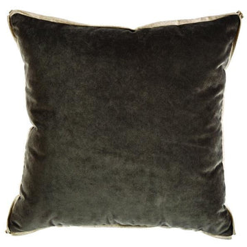 OGEECHEE VELVET PILLOW IN CHARCOAL & LINEN - TABBY HOME