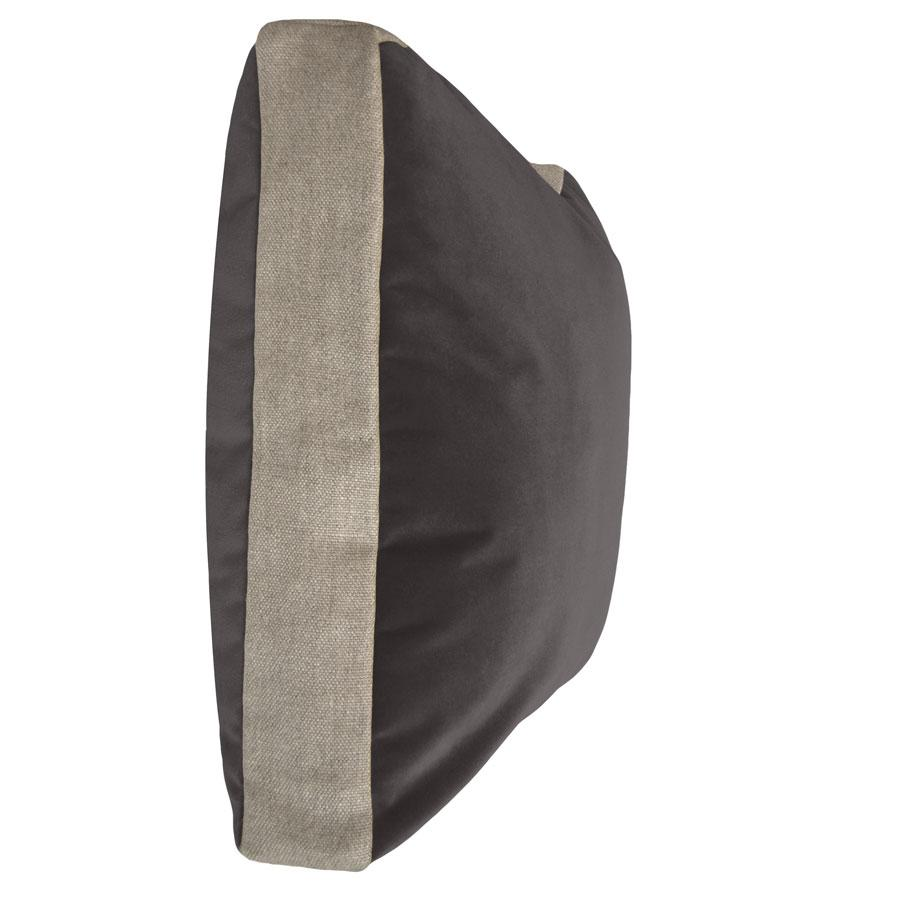 HALL STREET PILLOW - GREY VELVET + LINEN - TABBY HOME