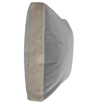 HALL STREET PILLOW - LIGHT GREY VELVET + LINEN - TABBY HOME