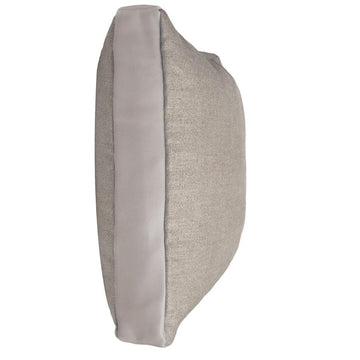 HALL STREET PILLOW - LINEN + GREY LEATHER - TABBY HOME