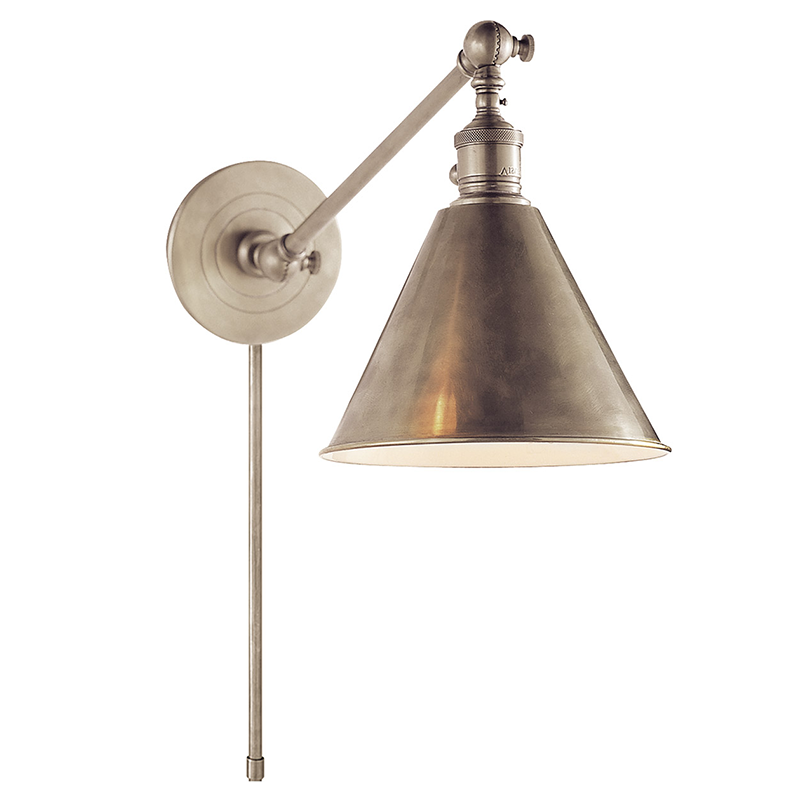 BOSTON FUNCTIONAL SINGLE ARM LIBRARY LIGHT Antique Nickel - TABBY HOME