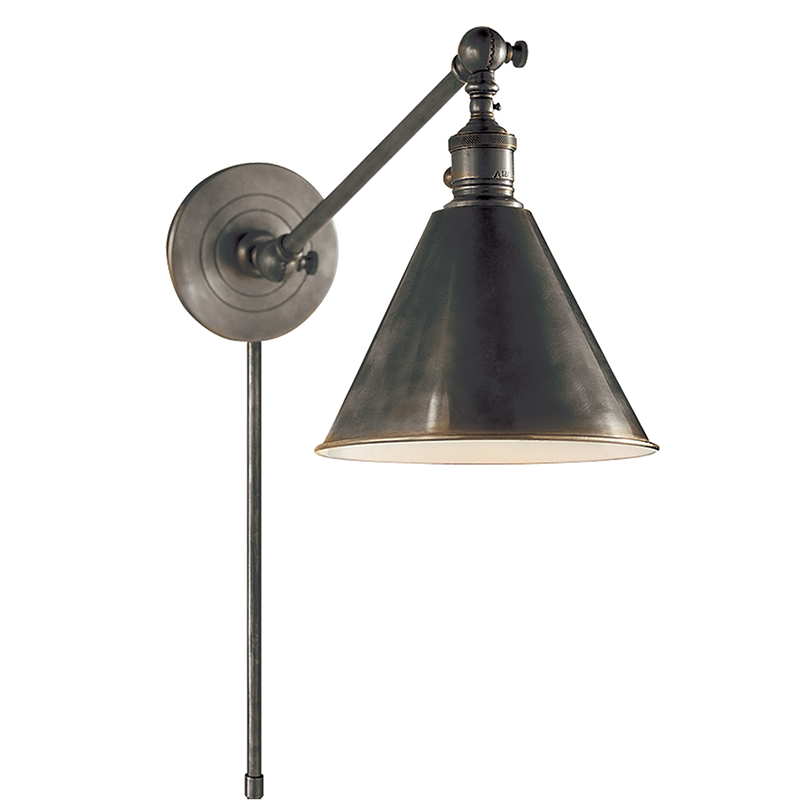 BOSTON FUNCTIONAL SINGLE ARM LIBRARY LIGHT Sconce Bronze - TABBY HOME Circa Lighting Visual Comfort