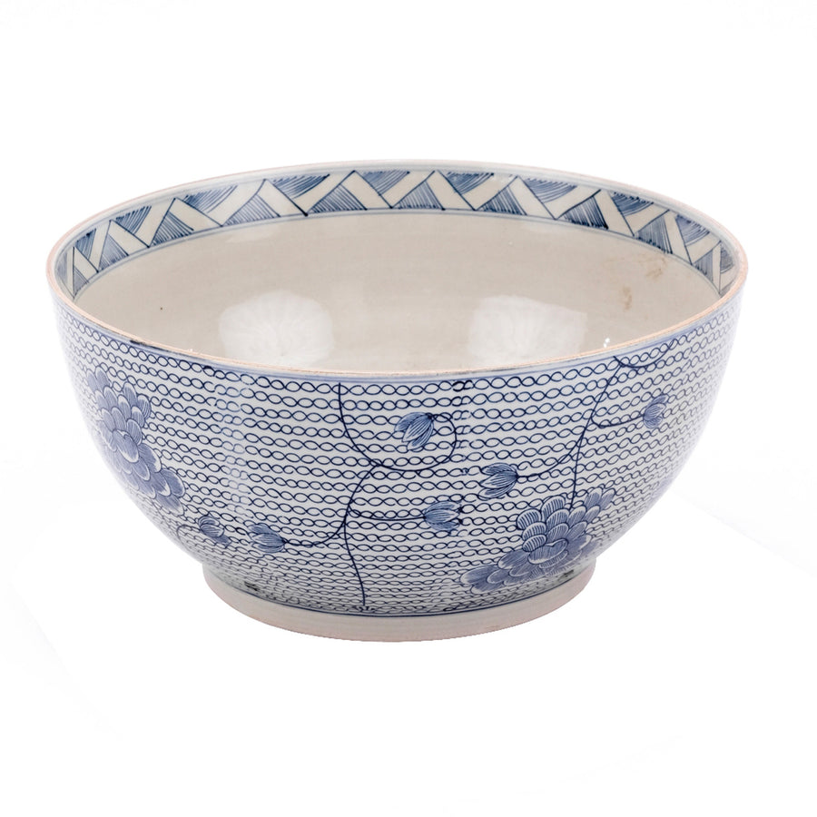BEATRICE BLUE AND WHITE CHAIN BOWL
