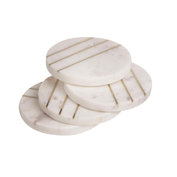 MARBLE ROUND COASTERS set of 4