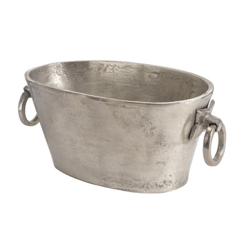 Tabby Home aluminum pewter wine bucket or large planter. BIDK wine chiller cooler. Savannah Georgia party supplies