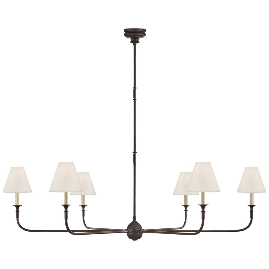 Tabby Home Piaf Grande Chandelier in Aged Iron with Ebonized Oak. Large diameter architectural lighting.