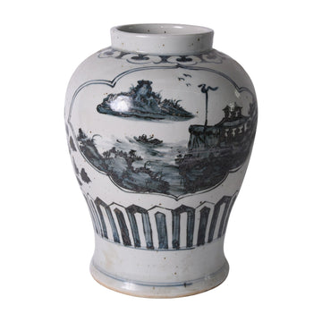 Seascape Medallion Ginger Jar - Tabby Home
