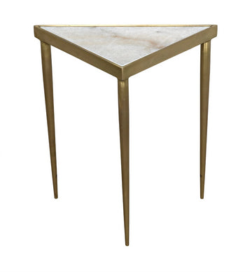 STEPPE TRIANGLE SIDE TABLE, Brass finish - TABBY HOME