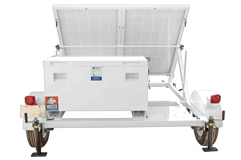 0.53KW Portable Solar Power Generator - 10' Trailer - 24V 500aH Battery  w/ (4) 5- 15R Receptacles.
