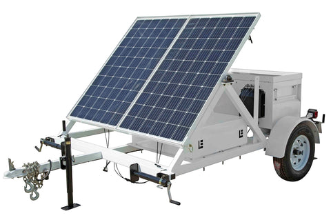 0.53KW Portable Solar Power Generator - 10' Trailer - 24V 500aH Battery Bank - (1) Job Box
