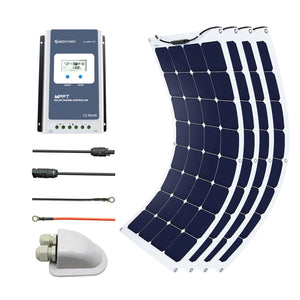 ACOPOWER 440Watts Flexible Solar RV Kit w/ 40A Waterproof Charge Controller, Solar Cable Wire,Tray Cable and Y Branch Connectors,Cable Entry Housing for Marine, RV, Boat, Caravan
