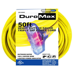 DuroMax XPC10050A 50-Foot 10 Gauge Single Tap Extension Power Cord
