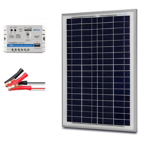 Image of ACOPOWER 25W 12V Solar Charger Kit, 5A Charge Controller with Alligator Clips