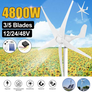 1200 Watt Wind Turbine 3 -5 Blade  Options With Charge Controller