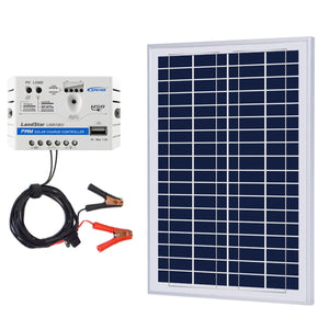 ACOPOWER 25W 12V Solar Charger Kit, 5A Charge Controller with Alligator Clips