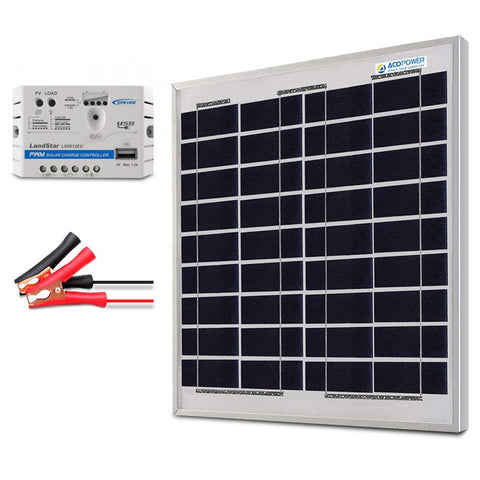 Image of ACOPOWER 15W 12V Solar Charger Kit, 5A Charge Controller with Alligator Clips
