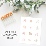 Printable Essential Oil Label Bundle Rainbow and Flower