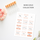 Printable Essential Oil Label Bundle Rose Gold Collection