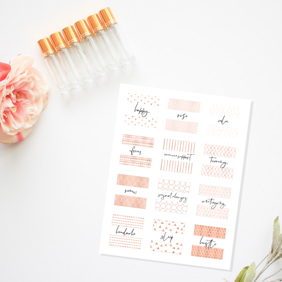 Printable Roller Bottle Labels- Rose Gold Collection