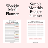 Digital Planner Starter Bundle Weekly Meal and Monthly Budget Planners