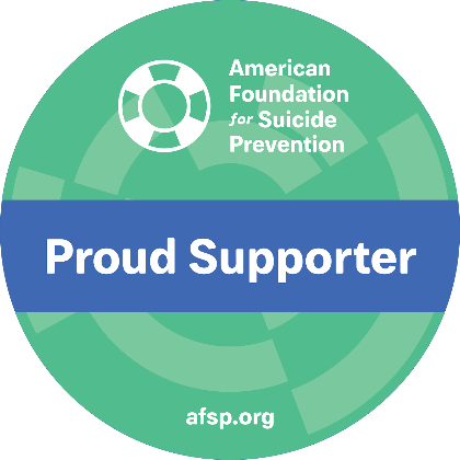 The Burn Station Proud Supporter Badge for The American Foundation for Suicide Prevention - The Burn Station