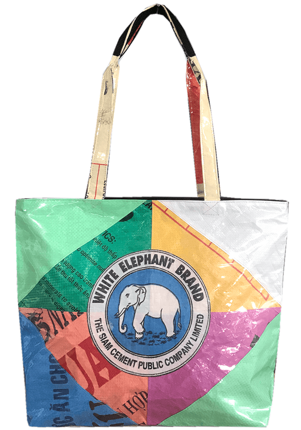 colourful recycle material shoulder bag with zip