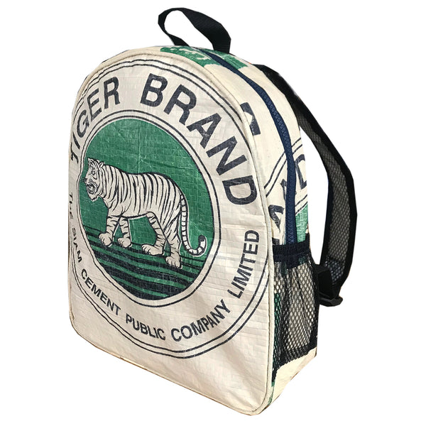 Small recycle material backpack with tiger print