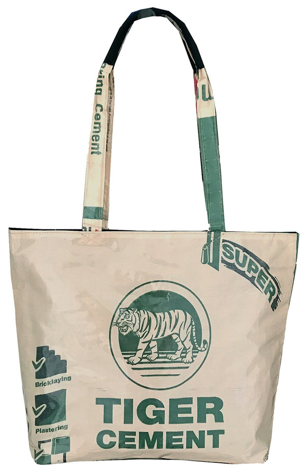 Recycle material shoulder bag with tiger by UppyBags