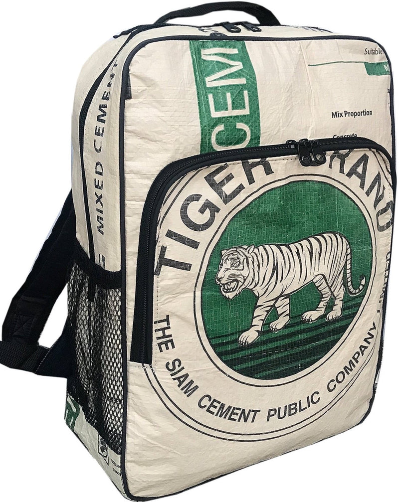 NEW unisex vegan recycled material backpack with green tiger print - uppybags