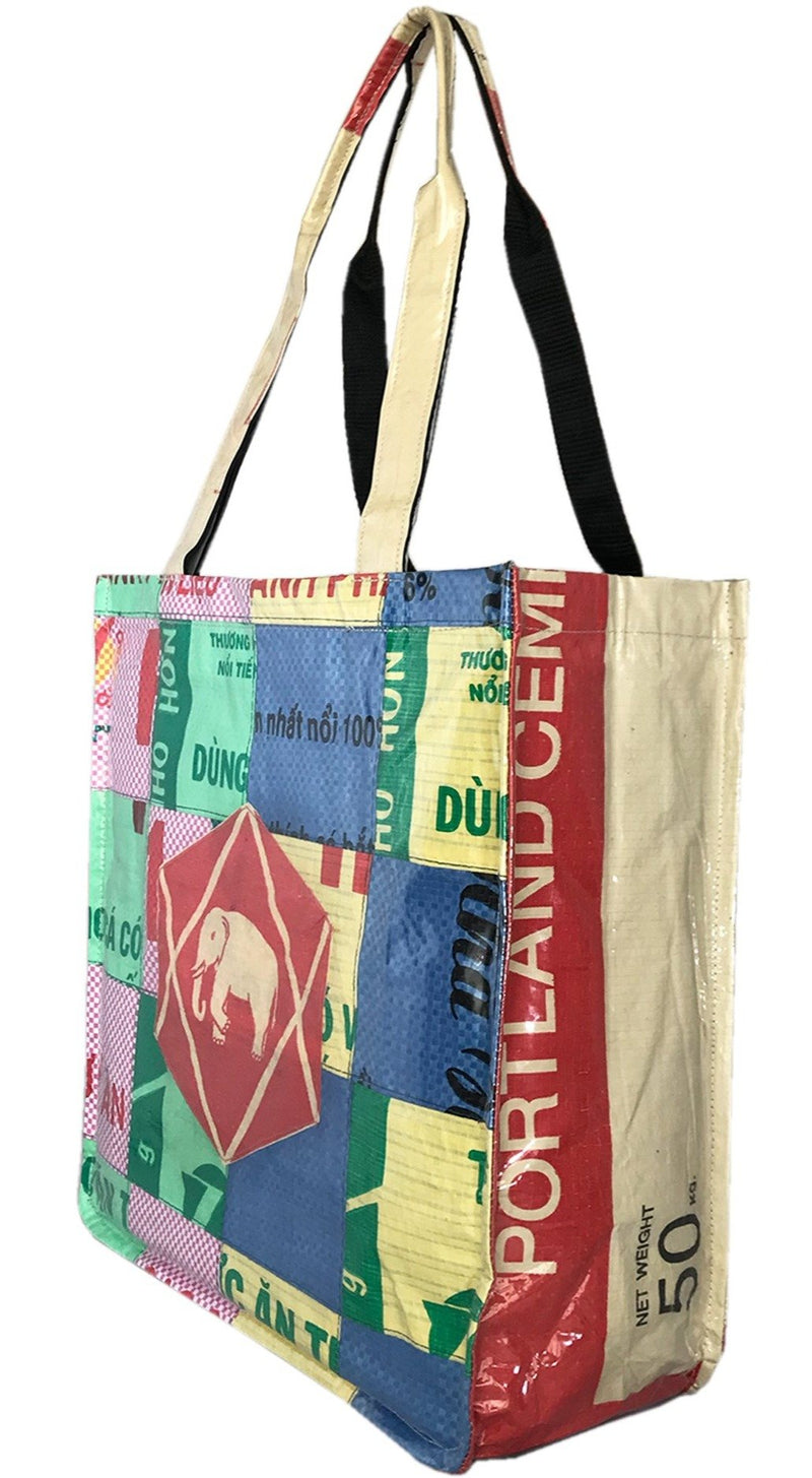 multicolour recycled material tote shoulder bag