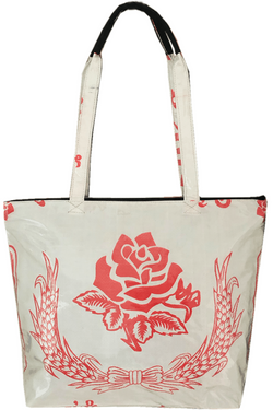Medium size recycled material shoulder tote bag with read flower - uppybags